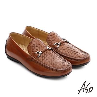 A.S.O 宴會精選 質感飾釦細緻胎牛皮奈米鞋 茶色