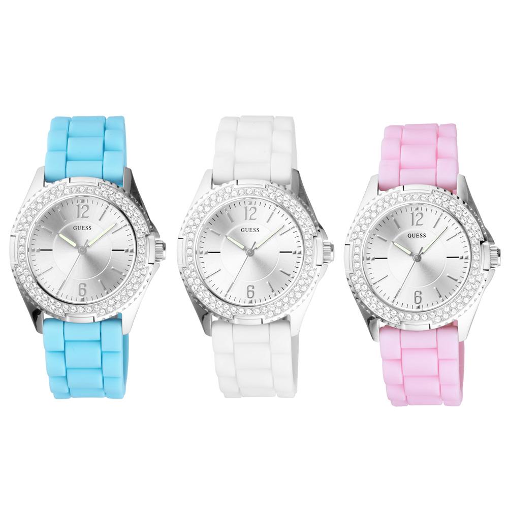 GUESS 躍動搖滾時尚晶鑽套錶組-銀/37mm