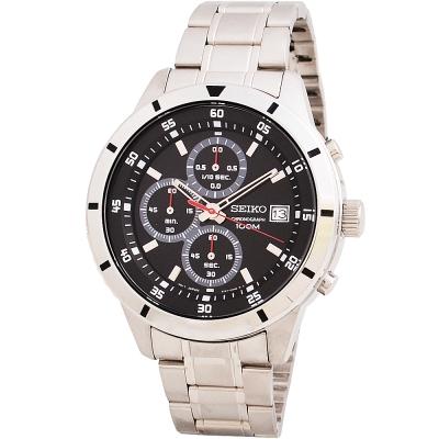SEIKO 男士三眼計時不鏽鋼腕錶-黑/43mm