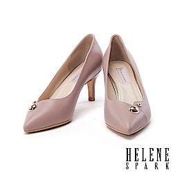 高跟鞋 HELENE SPARK 金屬圓釦羊皮尖頭高跟鞋-粉