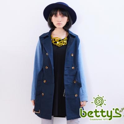 betty-s貝蒂思-牛仔拼接風衣-藍色