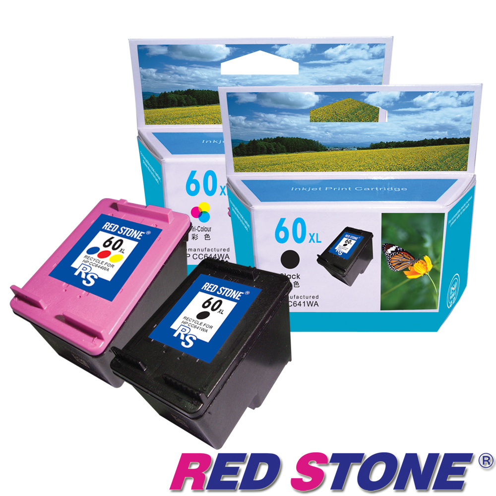 RED STONE for HP NO.60XL環保墨水匣(一黑一彩)高容量優惠組