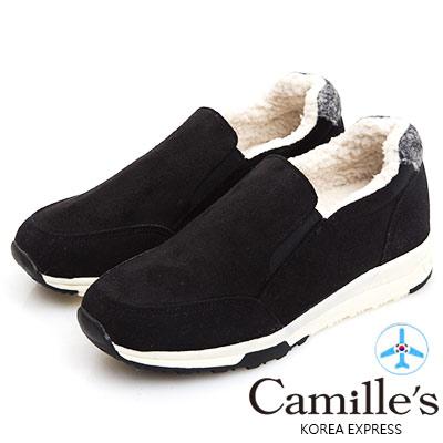 Camille's 韓國空運-正韓製-麂絨毛毛懶人運動休閒鞋-黑色