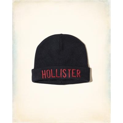 HCO Hollister 海鷗 經典刺繡文字毛帽-深藍色