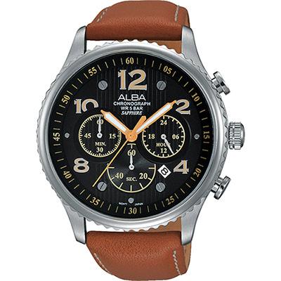 ALBA RACE 極限賽車計時腕錶(AT3959X1)-黑x棕/45mm
