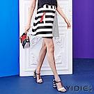 YIDIE衣蝶 拉鍊口袋斜條紋拼接短裙- 動態show