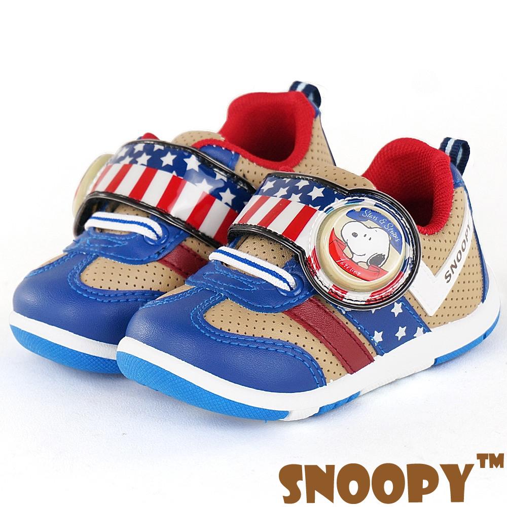 Snoopy史努比 輕量透氣抗菌防臭休閒電燈童鞋-米