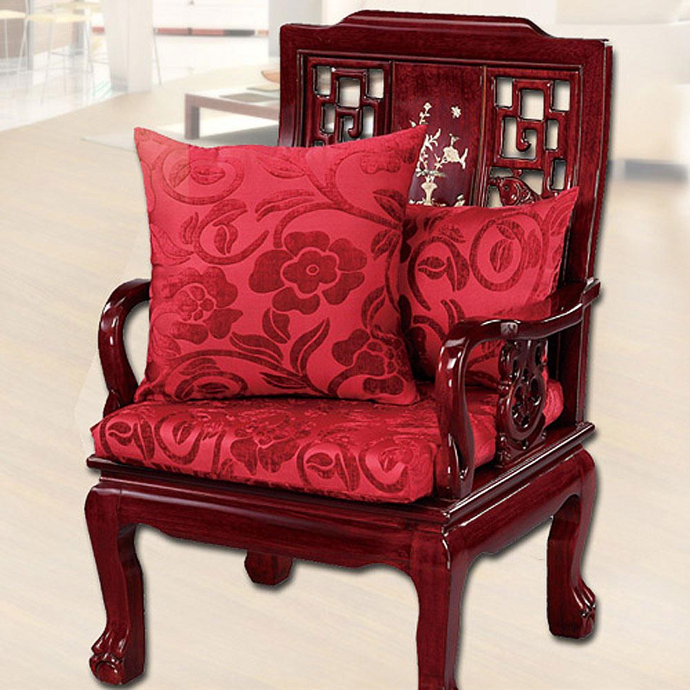 【凱蕾絲帝】富貴牡丹~實木椅專用絨布緹花記憶聚合坐墊(54*56CM)-6入
