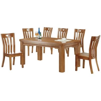 品家居 春曉5尺實木餐桌椅組合(一桌四椅)-150x90x76cm-免組