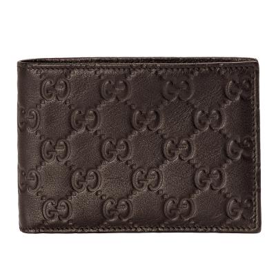 GUCCI 經典Guccissima GG壓紋零錢袋對折短夾(深咖/3卡+零錢口袋)