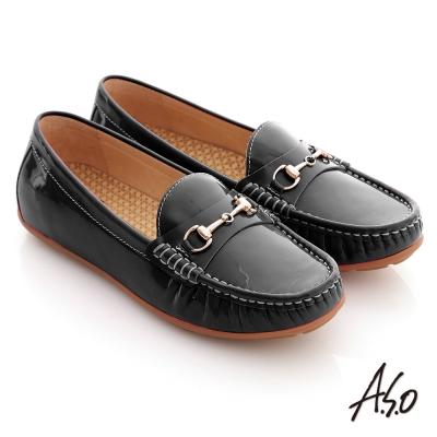 A.S.O 舒壓耐走 全真牛皮金屬釦環莫卡辛平底鞋 黑
