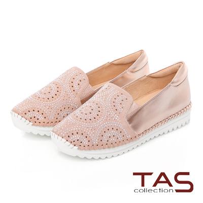 TAS 鏤空幾何圓圈燙鑽拼接休閒懶人鞋-香檳粉