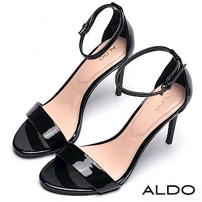 ALDO 原色一字金屬釦繫踝細高跟涼鞋~尊爵黑色