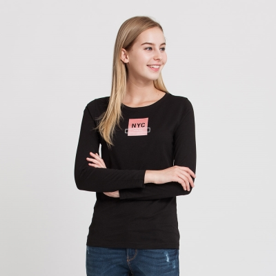 Hang Ten - 女裝 - 有機棉 NYC方塊圖章T恤 - 黑