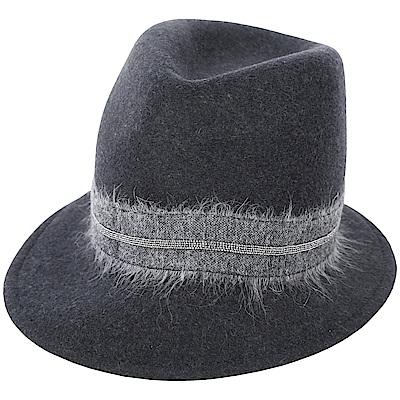 FABIANA FILIPPI 馬海毛深灰珠飾羊毛紳士帽