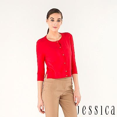 JESSICA-氣質鑽釦造型開襟衫(紅)