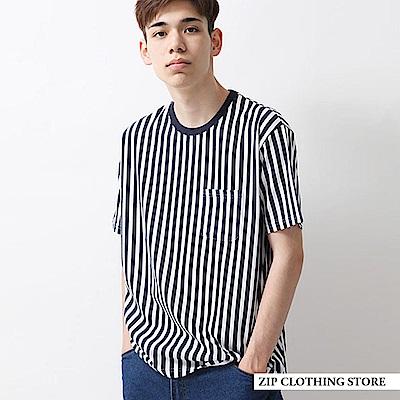短袖T恤豎條紋印刷(3色) ZIP日本男裝