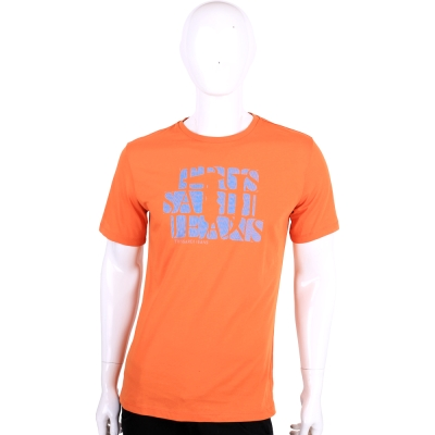 TRUSSARDI-JEANS 橘色LOGO圖印棉質短袖T恤