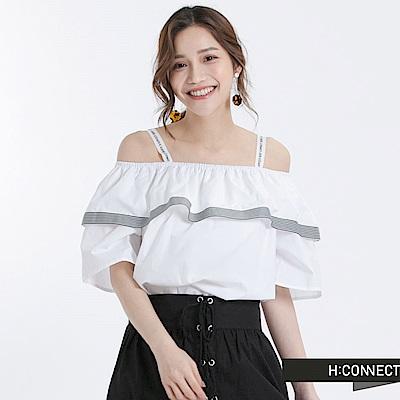 H:CONNECT 韓國品牌 女裝 -細肩平口荷葉上衣