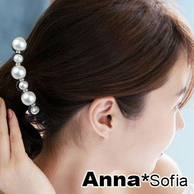 【3件5折】AnnaSofia 晶透鑽綴珠彩 中型豎夾髮夾(黑系)