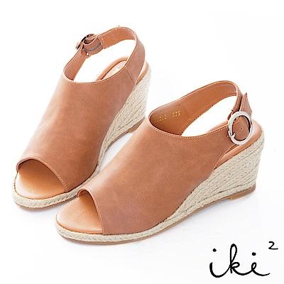 iki2 夏日知性復古微甜魚口楔型跟鞋-咖