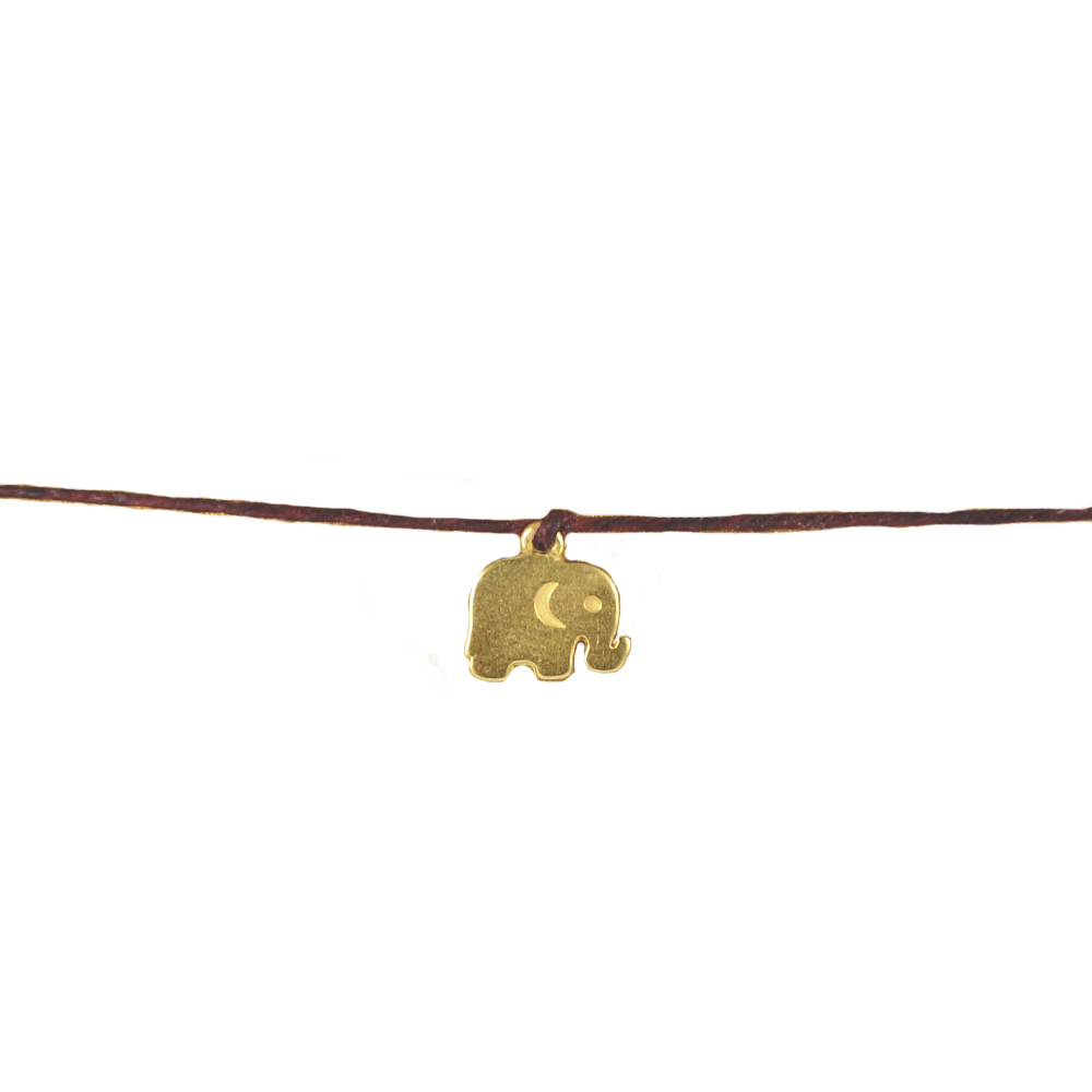 Dogeared Make a wish金色大象咖啡色棉線許願手鍊