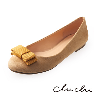 Chichi 氣質女伶 撞色方形蝴蝶結娃娃鞋* 米色