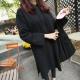 中大尺碼 素面側口袋內刷毛長版連帽抽繩厚棉洋