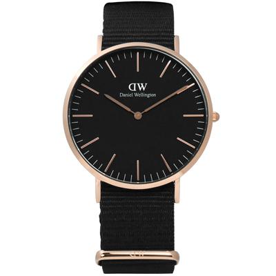 DW Daniel Wellington Classic 尼龍手錶-黑x玫瑰金框/40mm