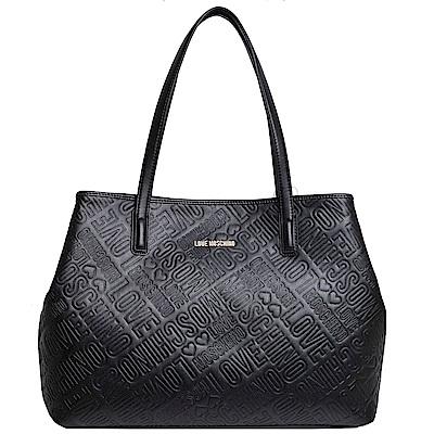 Love Moschino 品牌字母金色LOGO肩背購物包(黑)