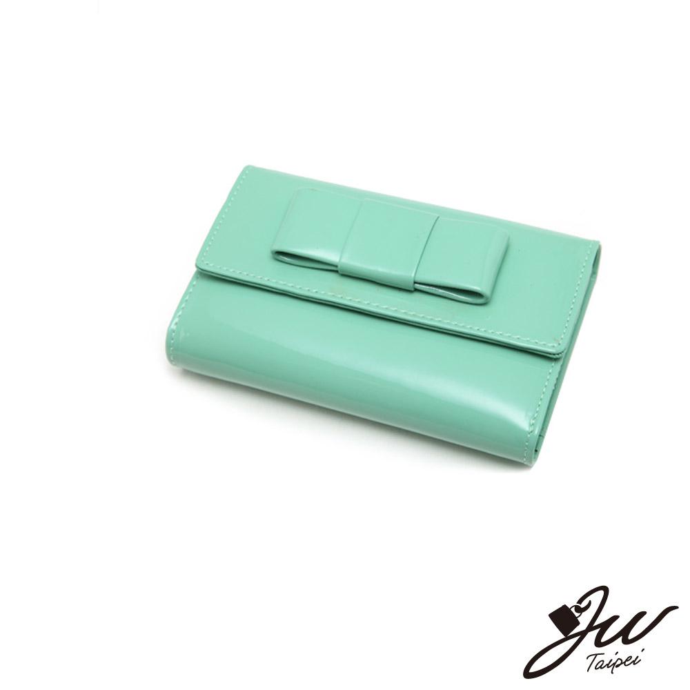 【J.W】甜糖果漆皮硬版蝴蝶結中夾(共7色-黑/藍/紅)