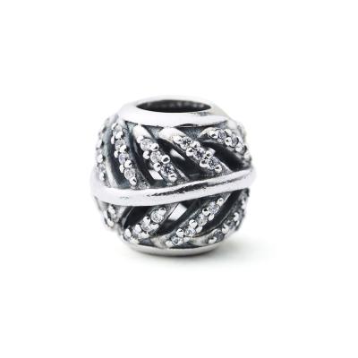Pandora 潘朵拉 鏤空羽毛鋯石墜