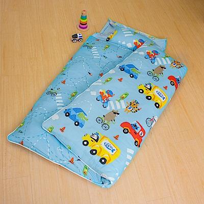 鴻宇HongYew 防蹣抗菌100%美國棉-旅行家 藍 舖棉兩用加大型兒童睡袋
