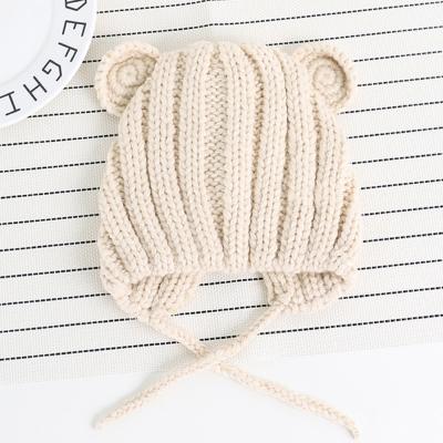 小熊 素色 針織條紋 護耳帽