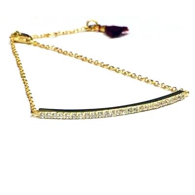 SHASHI 美國品牌 Diamond Bar 鑲鑽平衡骨金色手鍊