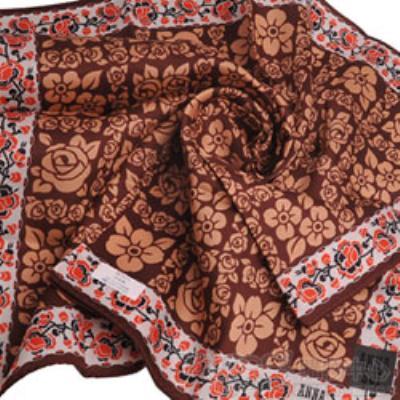ANNA SUI 優雅方塊玫瑰字母logo帕領巾(咖啡底)