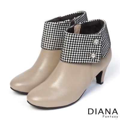 DIANA-俏麗佳人-千鳥格翻領異材質真皮踝跟靴