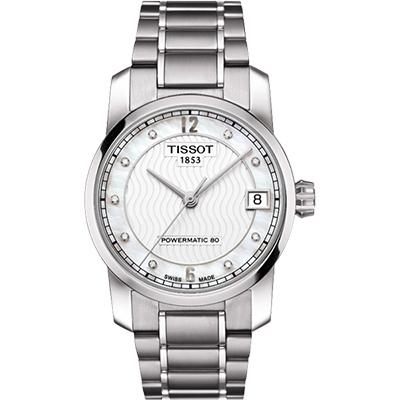 TISSOT T-Classic 【鈦】真鑽機械女錶-銀/32mm