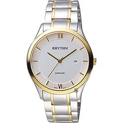 RHYTHM日本麗聲 簡約羅馬日期手錶-白x雙色/39mm