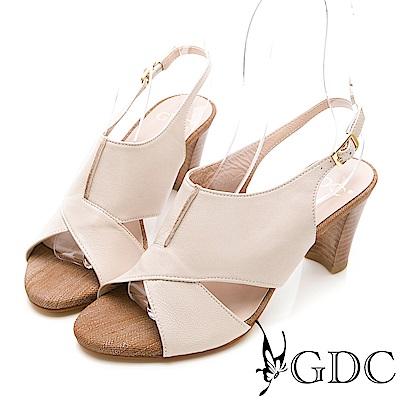 GDC-真皮交叉特殊拼接低跟涼鞋-米杏色