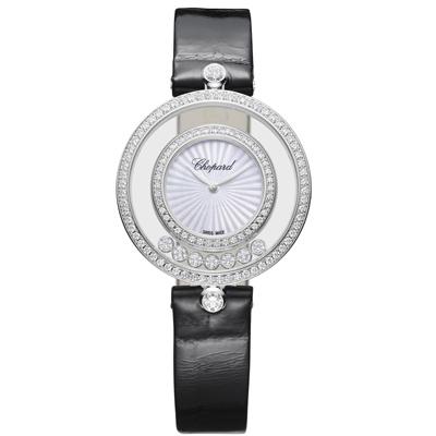 CHOPARD蕭邦HAPPY DIAMONDS系列放射珍珠母貝面18白K圓形腕錶-32mm