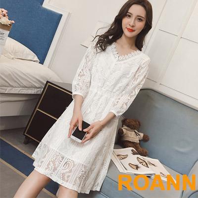 V領縷空蕾絲七分袖洋裝 (白色)-ROANN