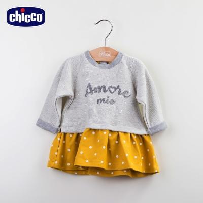 chicco點點裙擺洋裝-黃(12m-24m)