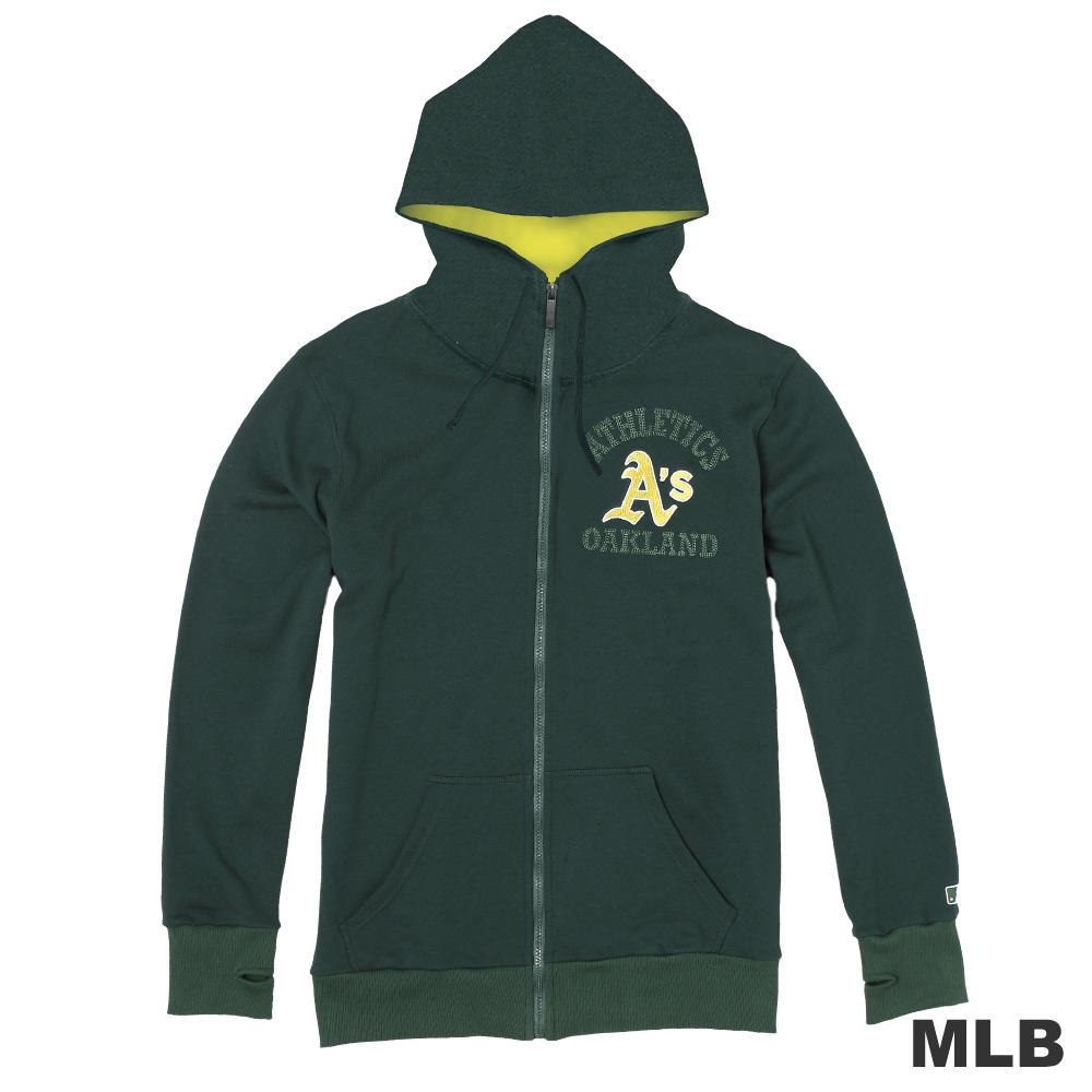 MLB-奧克蘭運動家隊連帽繡印花厚外套-深綠(男)