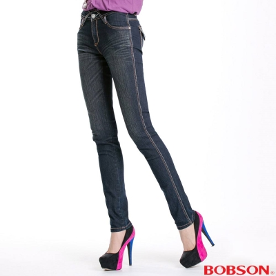 BOBSON 女款鑽飾小直筒褲