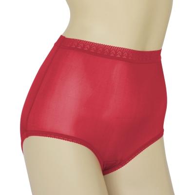 三角褲 100%蠶絲蕾絲高腰內褲2件組M-XL(酒紅) Seraphic