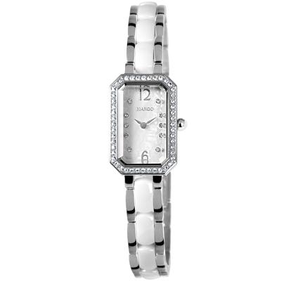MANGO 花漾晶鑽陶瓷時尚腕錶-白/18mm