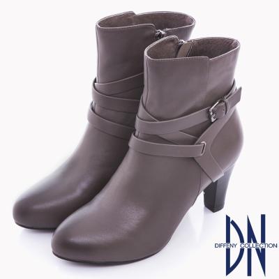 DN 時尚美感 真皮率性繞帶高跟短靴 灰