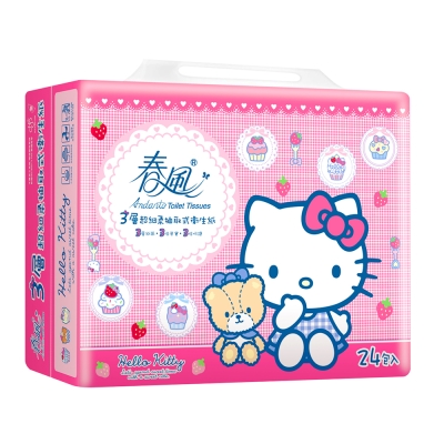 春風三層抽取式衛生紙 100抽x24包x3串/箱-Hello Kitty點心風