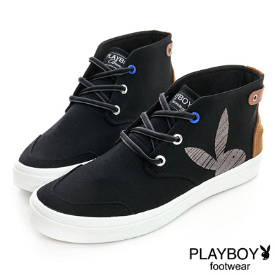 PLAYBOY-雅痞休閒-經典單色中筒休閒鞋-黑